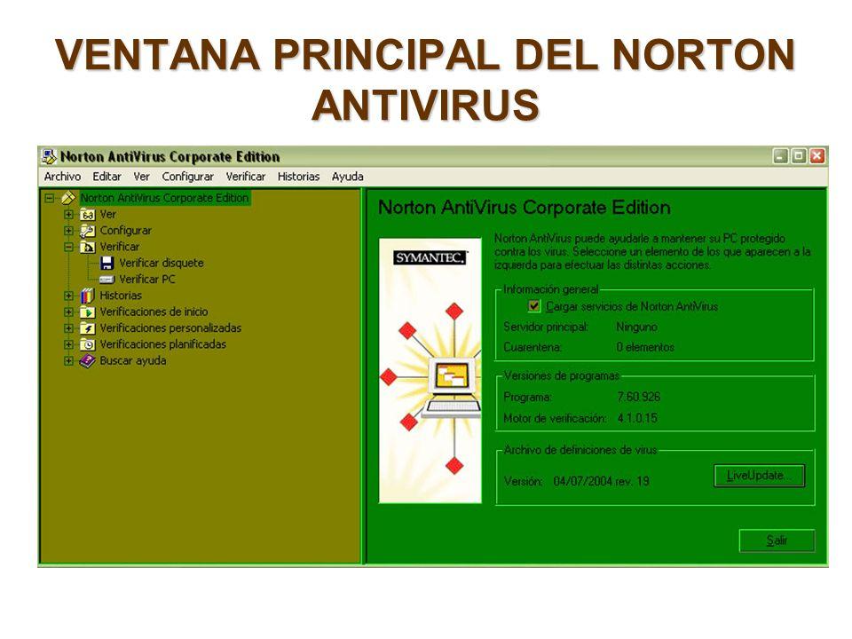 VENTANA PRINCIPAL DEL NORTON ANTIVIRUS
