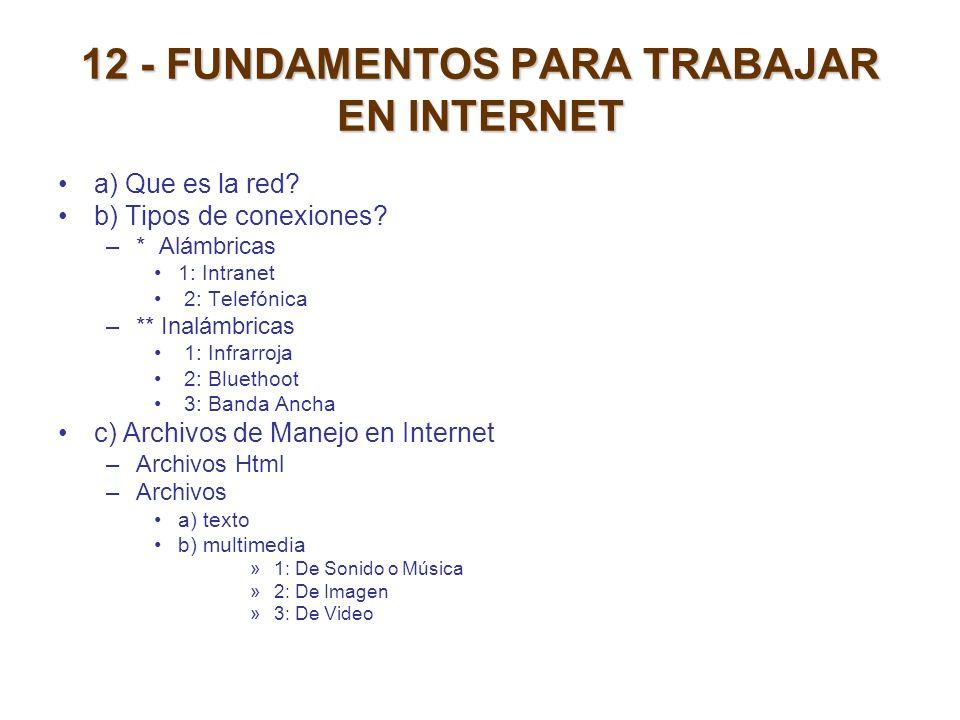 12 - FUNDAMENTOS PARA TRABAJAR EN INTERNET a) Que es la red? b) Tipos de conexiones? –* Alámbricas 1: Intranet 2: Telefónica –** Inalámbricas 1: Infra