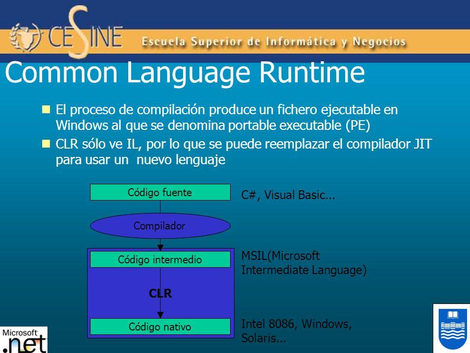 El proceso de compilación produce un fichero ejecutable en Windows al que se denomina portable executable (PE) CLR sólo ve IL, por lo que se puede ree