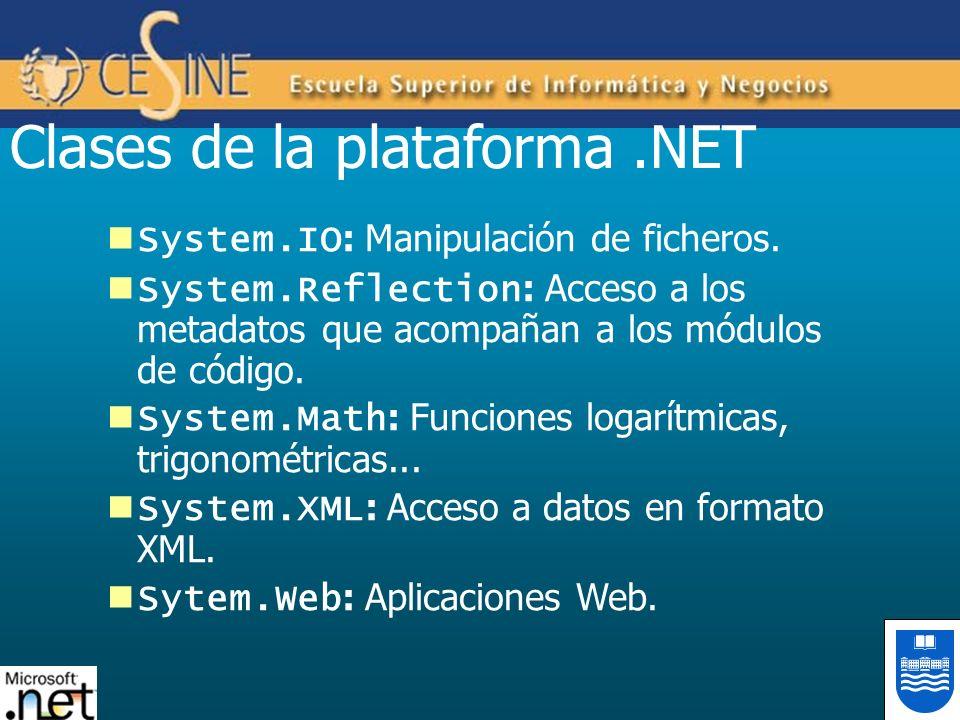 Clases de la plataforma.NET System.IO : Manipulación de ficheros. System.Reflection : Acceso a los metadatos que acompañan a los módulos de código. Sy