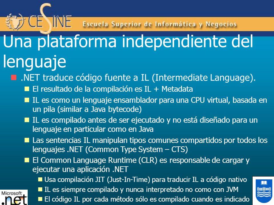 .NET traduce código fuente a IL (Intermediate Language). El resultado de la compilación es IL + Metadata IL es como un lenguaje ensamblador para una C
