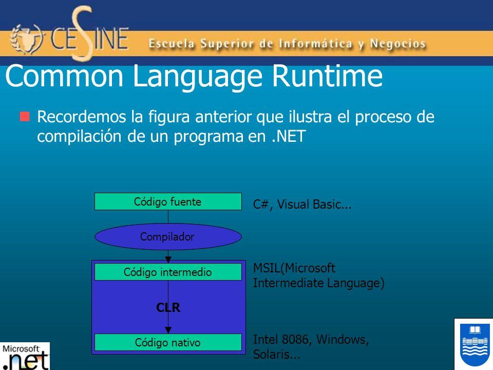 Recordemos la figura anterior que ilustra el proceso de compilación de un programa en.NET Common Language Runtime CLR Código fuente Código intermedio