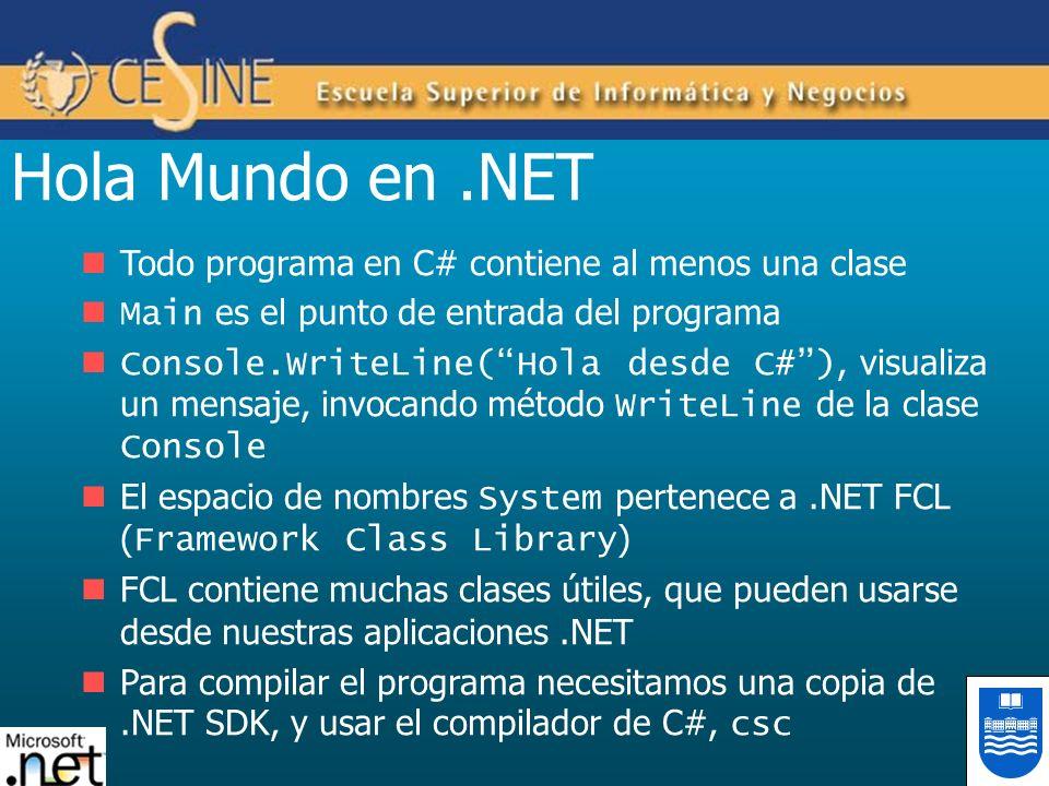 Hola Mundo en.NET Todo programa en C# contiene al menos una clase Main es el punto de entrada del programa Console.WriteLine(Hola desde C#), visualiza