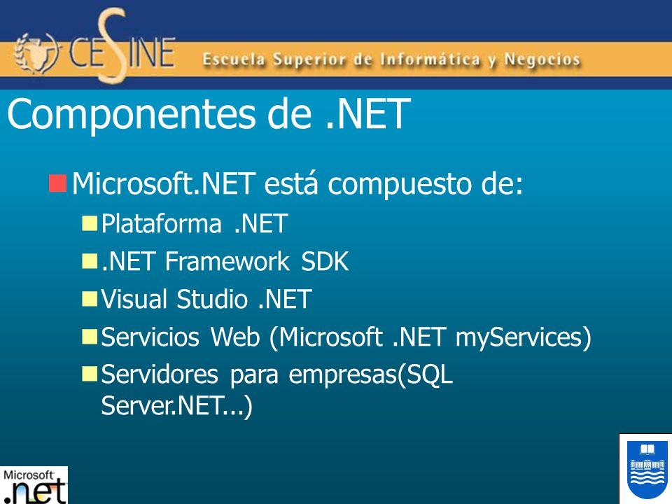 Componentes de.NET Microsoft.NET está compuesto de: Plataforma.NET.NET Framework SDK Visual Studio.NET Servicios Web (Microsoft.NET myServices) Servid