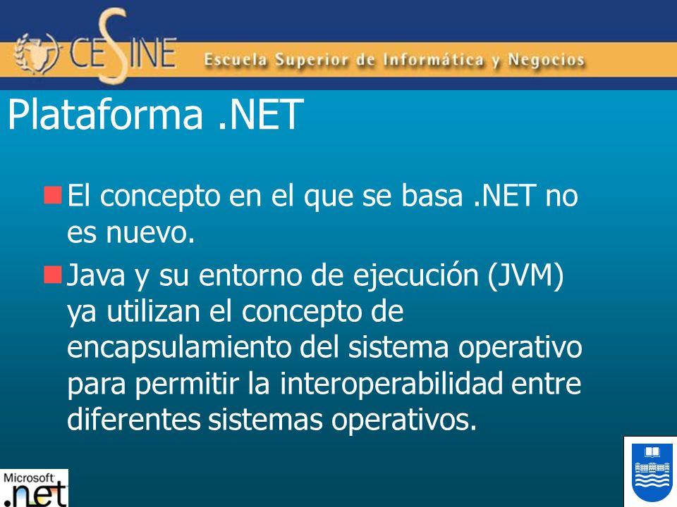 Plataforma.NET El concepto en el que se basa.NET no es nuevo. Java y su entorno de ejecución (JVM) ya utilizan el concepto de encapsulamiento del sist