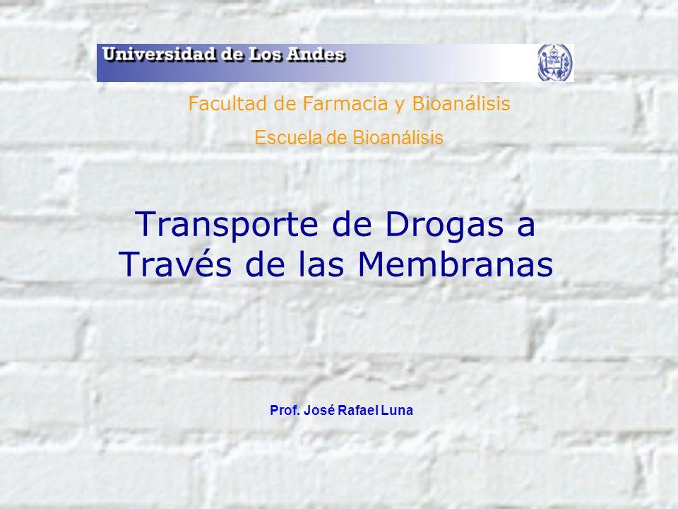 Transporte de Drogas a Través de las Membranas Prof. José Rafael Luna Facultad de Farmacia y Bioanálisis Escuela de Bioanálisis