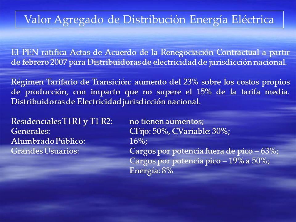 El PEN ratifica Actas de Acuerdo de la Renegociación Contractual a partir de febrero 2007 para Distribuidoras de electricidad de jurisdicción nacional