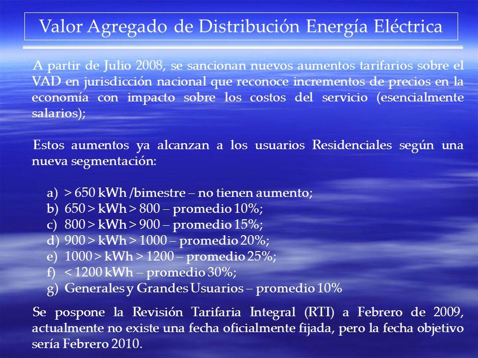 A partir de Julio 2008, se sancionan nuevos aumentos tarifarios sobre el VAD en jurisdicción nacional que reconoce incrementos de precios en la econom