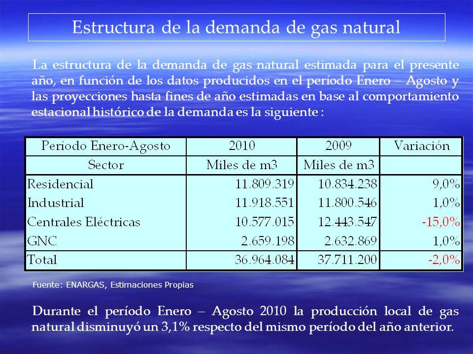 Estructura de la demanda de gas natural La estructura de la demanda de gas natural estimada para el presente año, en función de los datos producidos e