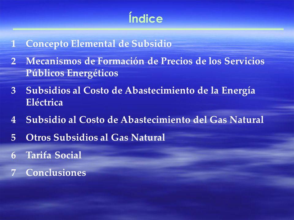 Índice 1Concepto Elemental de Subsidio 2Mecanismos de Formación de Precios de los Servicios Públicos Energéticos 3Subsidios al Costo de Abastecimiento