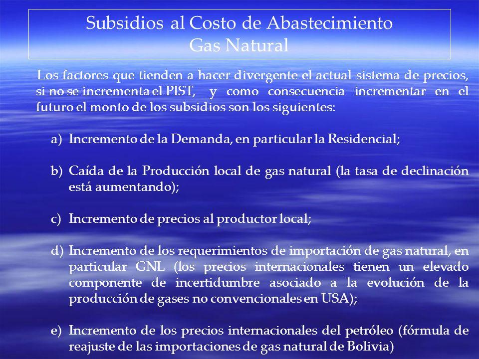Subsidios al Costo de Abastecimiento Gas Natural Los factores que tienden a hacer divergente el actual sistema de precios, si no se incrementa el PIST