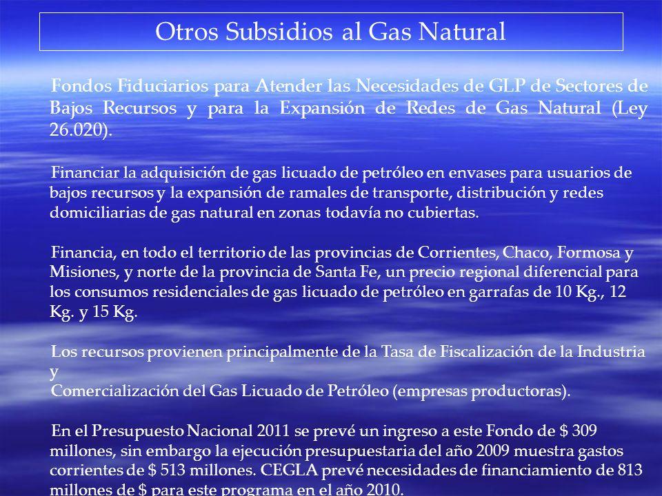 Otros Subsidios al Gas Natural Fondos Fiduciarios para Atender las Necesidades de GLP de Sectores de Bajos Recursos y para la Expansión de Redes de Ga