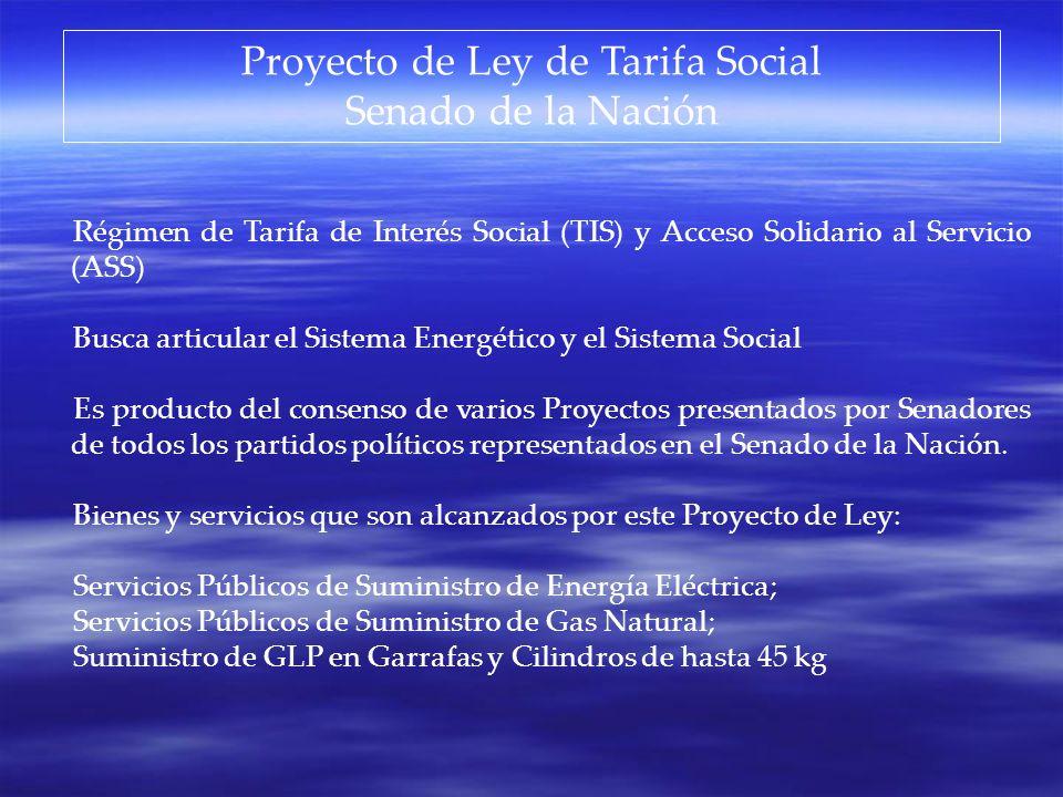 Proyecto de Ley de Tarifa Social Senado de la Nación Régimen de Tarifa de Interés Social (TIS) y Acceso Solidario al Servicio (ASS) Busca articular el