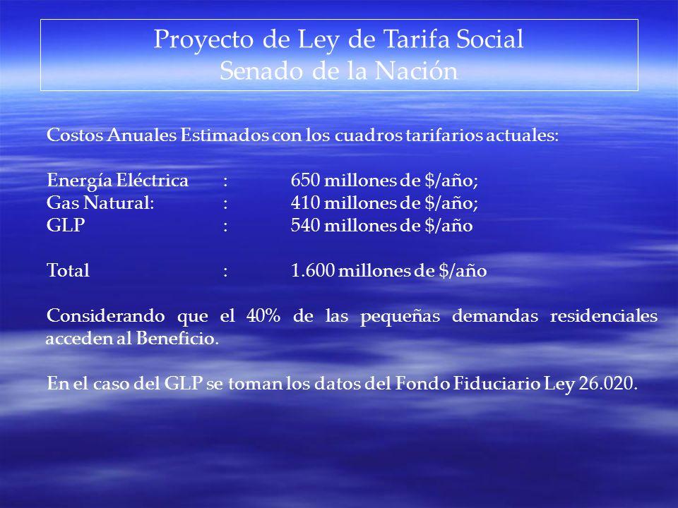 Proyecto de Ley de Tarifa Social Senado de la Nación Costos Anuales Estimados con los cuadros tarifarios actuales: Energía Eléctrica:650 millones de $
