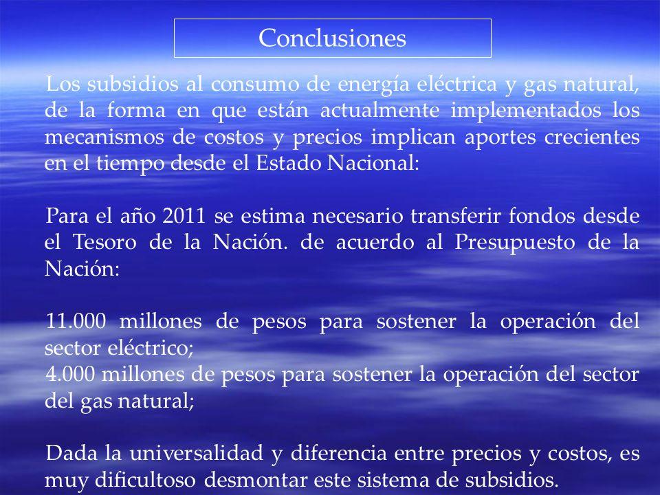 Conclusiones Los subsidios al consumo de energía eléctrica y gas natural, de la forma en que están actualmente implementados los mecanismos de costos