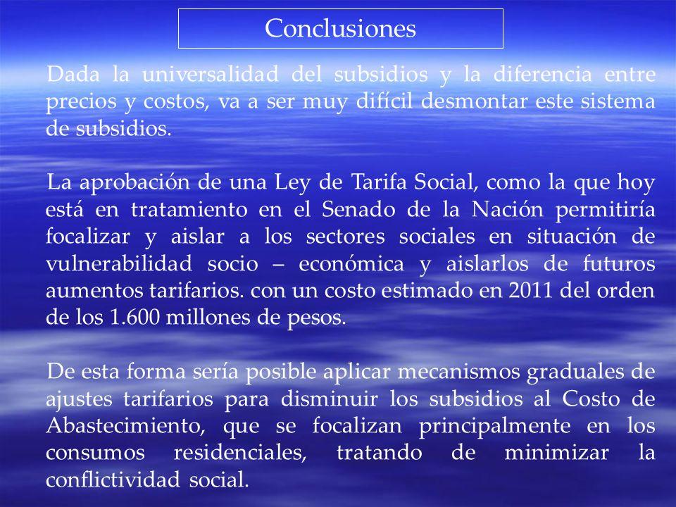 Conclusiones Dada la universalidad del subsidios y la diferencia entre precios y costos, va a ser muy difícil desmontar este sistema de subsidios. La