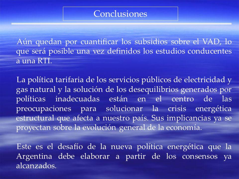 Conclusiones Aún quedan por cuantificar los subsidios sobre el VAD, lo que será posible una vez definidos los estudios conducentes a una RTI. La polít