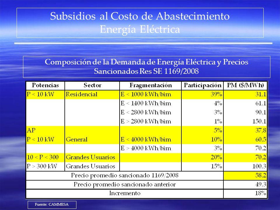 Subsidios al Costo de Abastecimiento Energía Eléctrica Composición de la Demanda de Energía Eléctrica y Precios Sancionados Res SE 1169/2008 Fuente: C