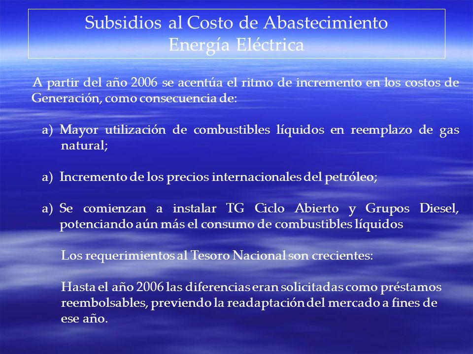 Subsidios al Costo de Abastecimiento Gas Natural La diferencia puede ser considerada como el subsidio a ser reintegrado desde el Tesoro Nacional y se estima para el presente año en 1.300 millones de u$s.