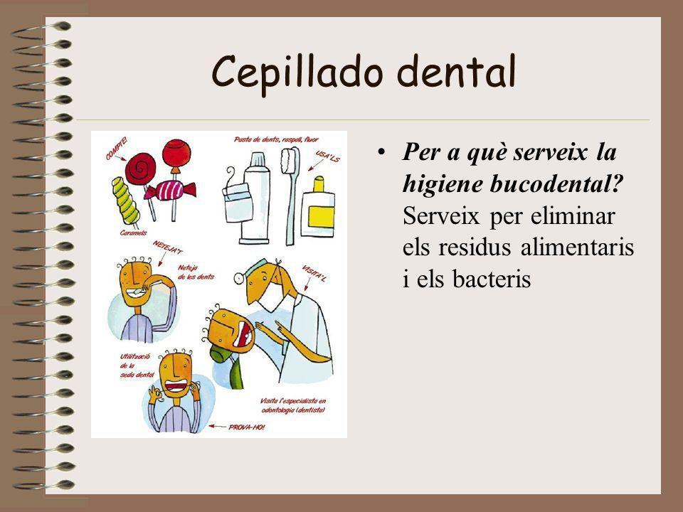 Cepillado dental Per a què serveix la higiene bucodental? Serveix per eliminar els residus alimentaris i els bacteris