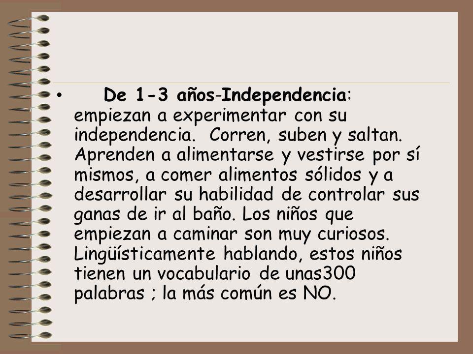 De 1-3 años-Independencia: empiezan a experimentar con su independencia. Corren, suben y saltan. Aprenden a alimentarse y vestirse por sí mismos, a co