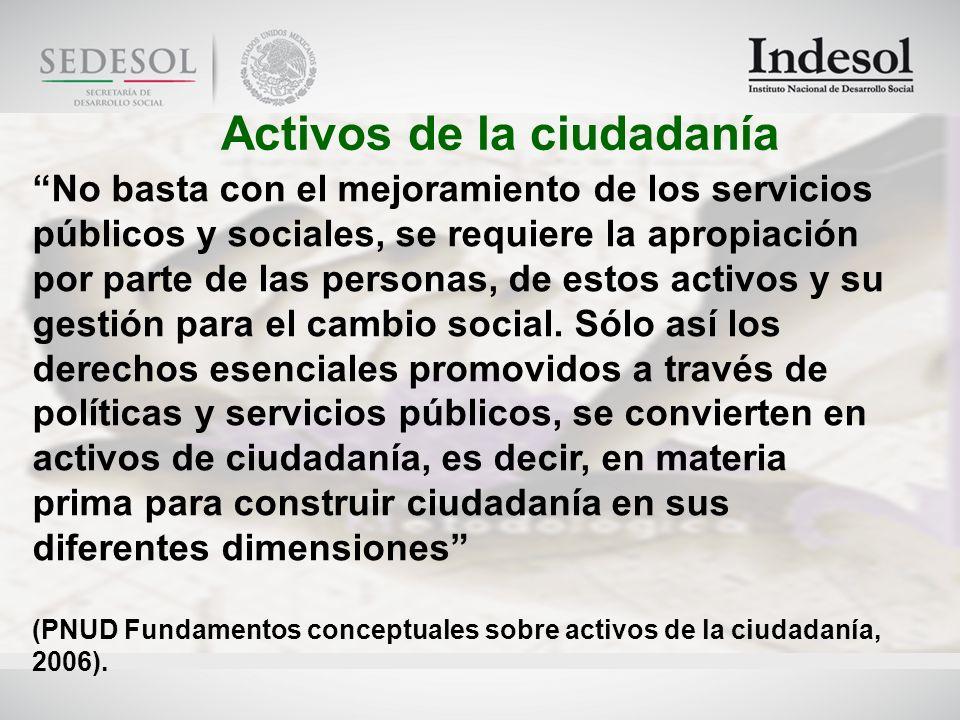 Activos de la ciudadanía No basta con el mejoramiento de los servicios públicos y sociales, se requiere la apropiación por parte de las personas, de estos activos y su gestión para el cambio social.