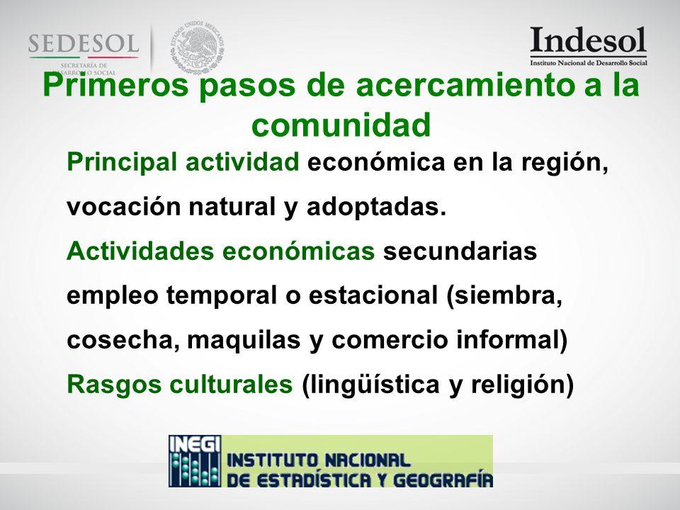 Principal actividad económica en la región, vocación natural y adoptadas.