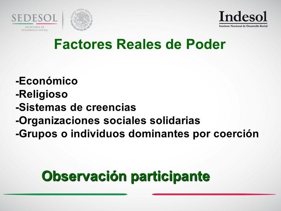 Factores Reales de Poder Observación participante -Económico -Religioso -Sistemas de creencias -Organizaciones sociales solidarias -Grupos o individuos dominantes por coerción