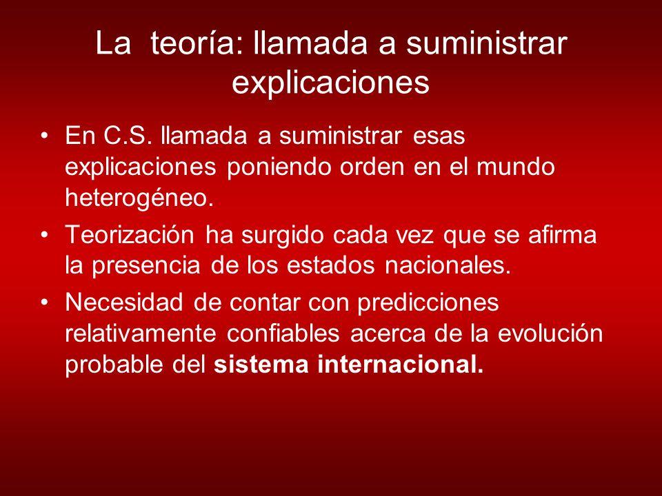 La teoría: llamada a suministrar explicaciones En C.S.