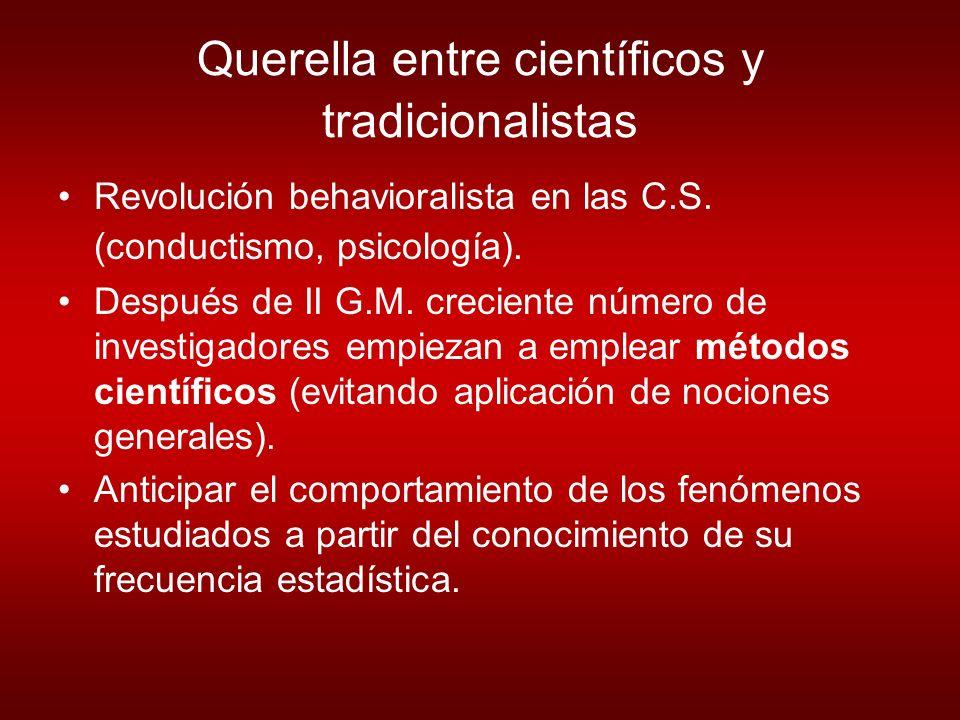 Querella entre científicos y tradicionalistas Revolución behavioralista en las C.S.