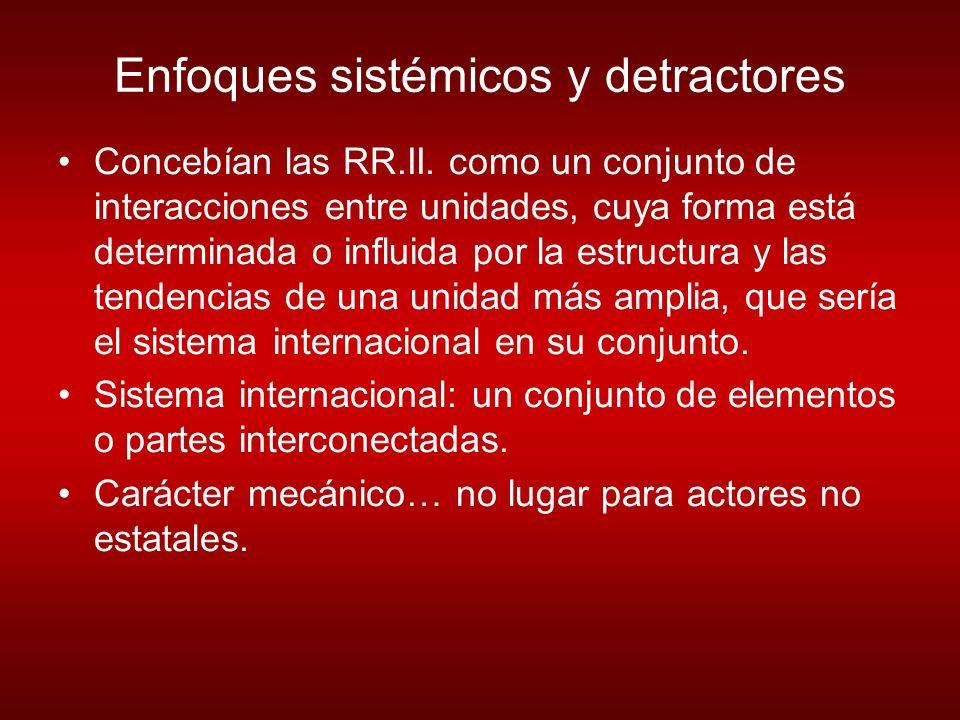 Enfoques sistémicos y detractores Concebían las RR.II.