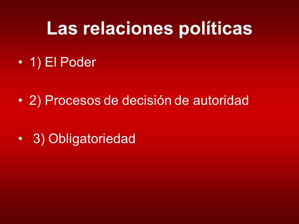 Las relaciones políticas 1) El Poder 2) Procesos de decisión de autoridad 3) Obligatoriedad