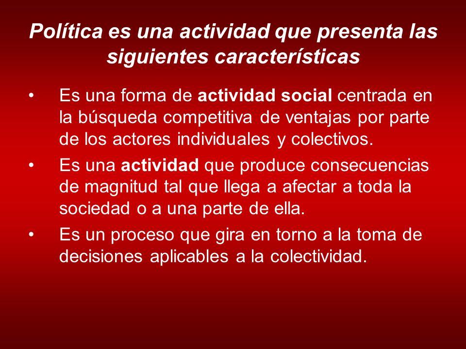 Política es una actividad que presenta las siguientes características Es una forma de actividad social centrada en la búsqueda competitiva de ventajas por parte de los actores individuales y colectivos.
