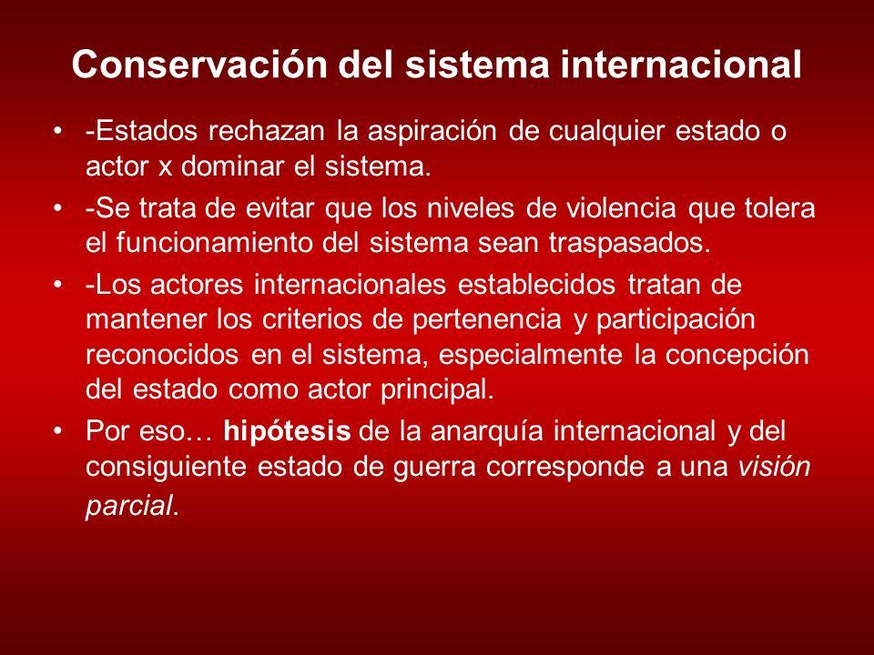 Conservación del sistema internacional -Estados rechazan la aspiración de cualquier estado o actor x dominar el sistema.