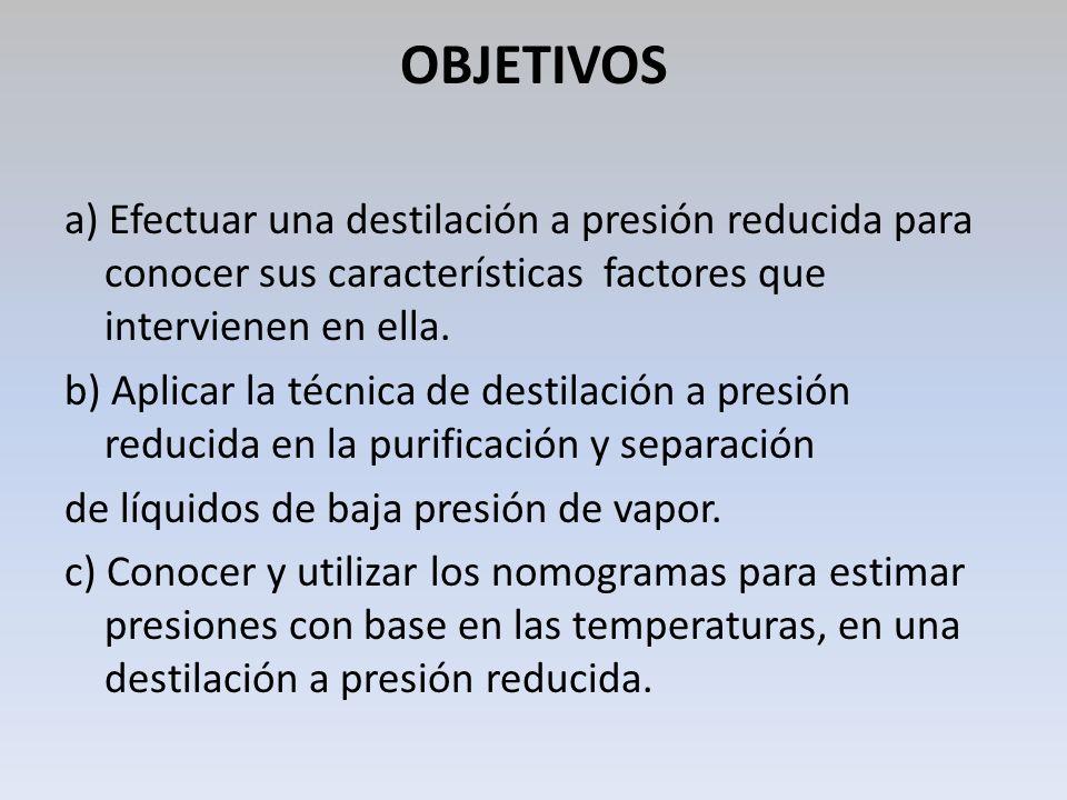 OBJETIVOS a) Efectuar una destilación a presión reducida para conocer sus características factores que intervienen en ella. b) Aplicar la técnica de d