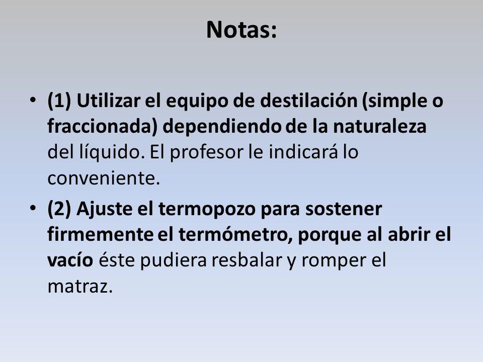Notas: (1) Utilizar el equipo de destilación (simple o fraccionada) dependiendo de la naturaleza del líquido. El profesor le indicará lo conveniente.