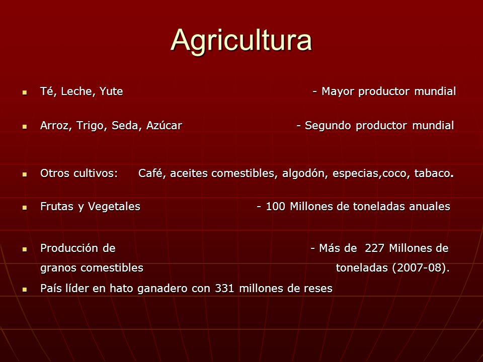 Agricultura Té, Leche, Yute - Mayor productor mundial Té, Leche, Yute - Mayor productor mundial Arroz, Trigo, Seda, Azúcar - Segundo productor mundial