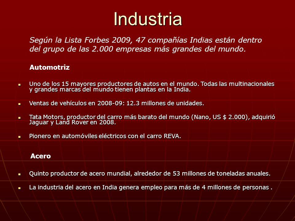 Industria Uno de los 15 mayores productores de autos en el mundo. Todas las multinacionales y grandes marcas del mundo tienen plantas en la India. Uno