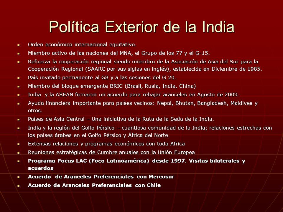 Política Exterior de la India Orden económico internacional equitativo. Orden económico internacional equitativo. Miembro activo de las naciones del M