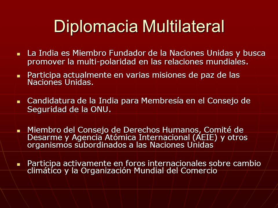 Diplomacia Multilateral La India es Miembro Fundador de la Naciones Unidas y busca promover la multi-polaridad en las relaciones mundiales.