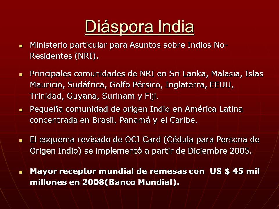 Diáspora India Ministerio particular para Asuntos sobre Indios No- Residentes (NRI).