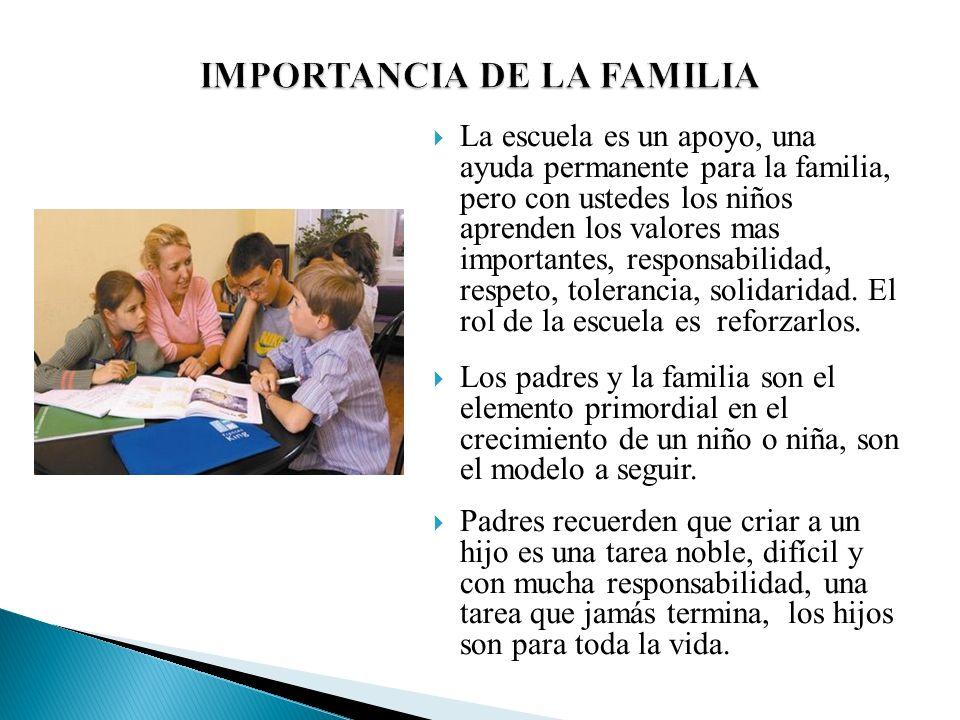 La escuela es un apoyo, una ayuda permanente para la familia, pero con ustedes los niños aprenden los valores mas importantes, responsabilidad, respet