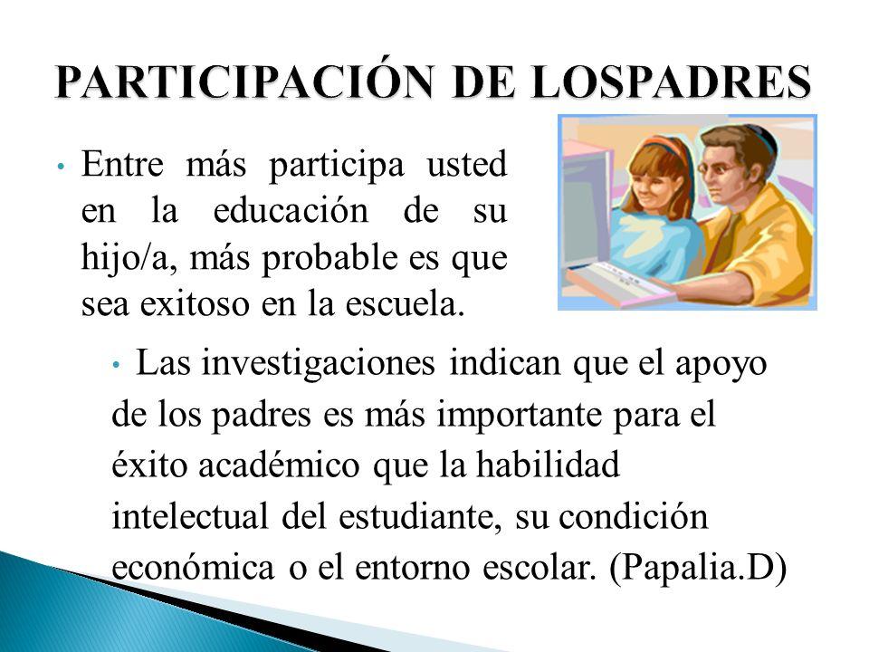 Las investigaciones indican que el apoyo de los padres es más importante para el éxito académico que la habilidad intelectual del estudiante, su condi
