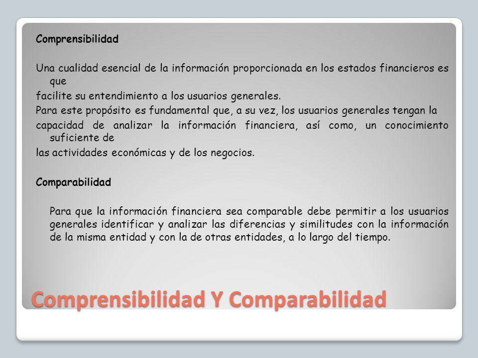 Comprensibilidad Y Comparabilidad Comprensibilidad Una cualidad esencial de la información proporcionada en los estados financieros es que facilite su