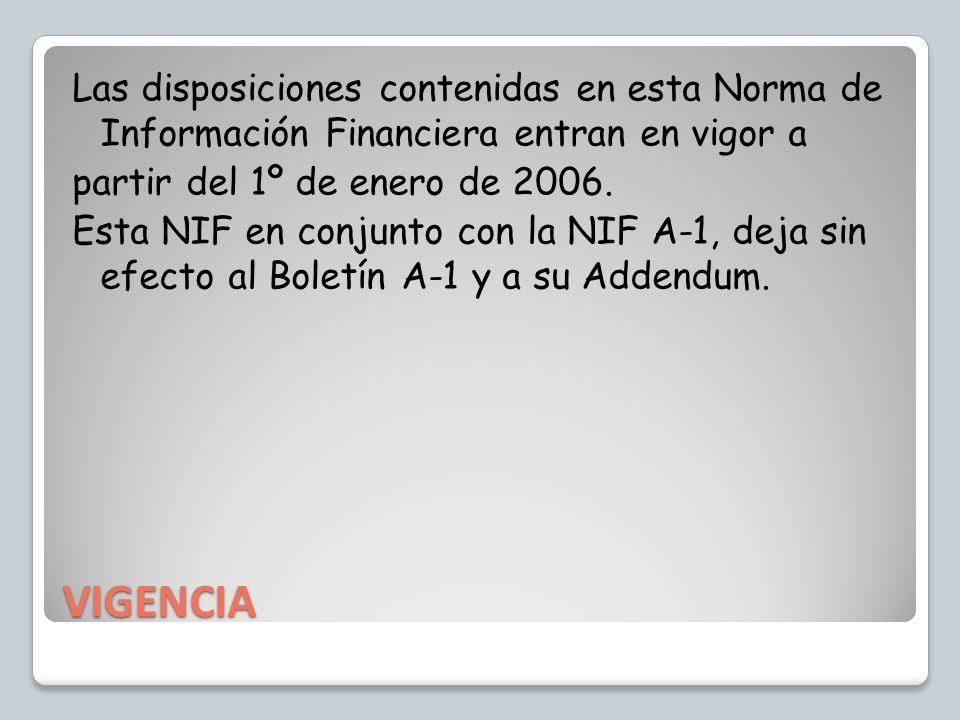 VIGENCIA Las disposiciones contenidas en esta Norma de Información Financiera entran en vigor a partir del 1º de enero de 2006. Esta NIF en conjunto c