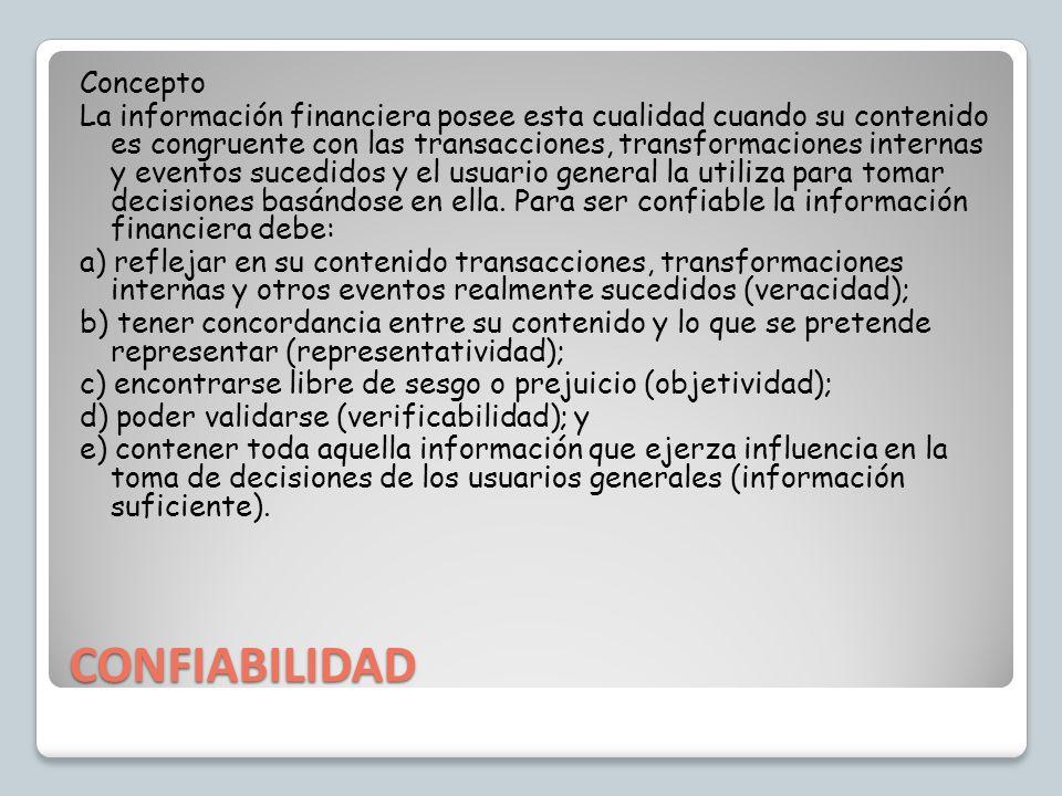 CONFIABILIDAD Concepto La información financiera posee esta cualidad cuando su contenido es congruente con las transacciones, transformaciones interna
