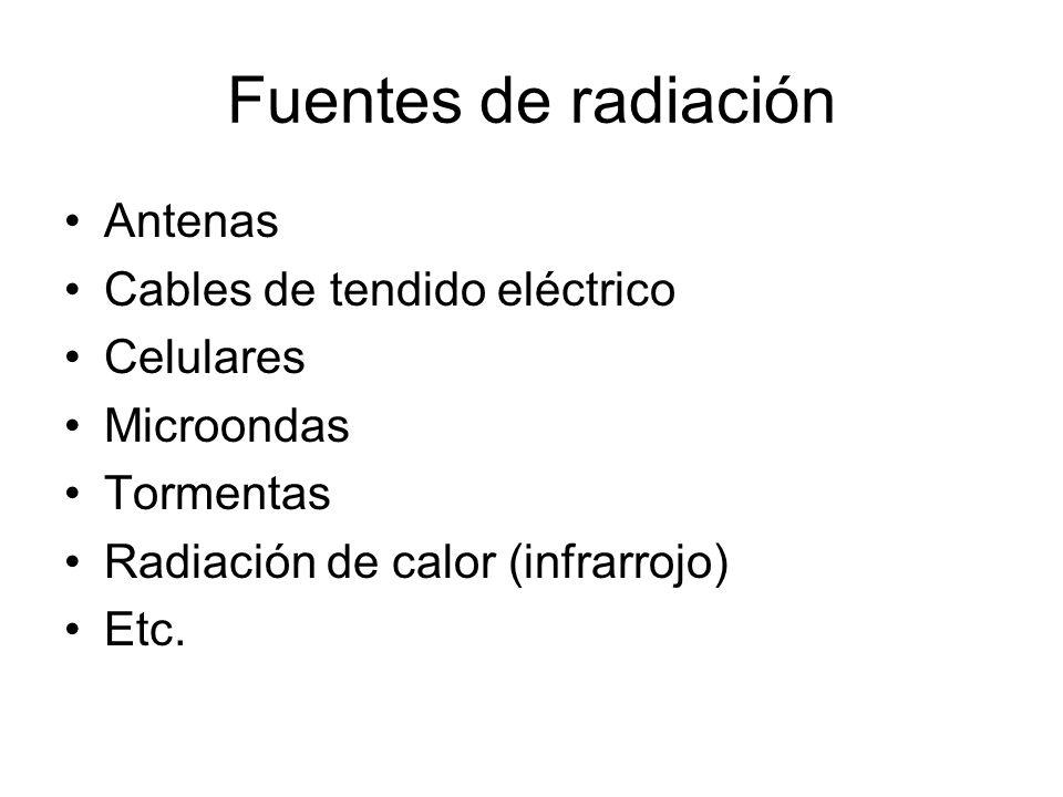 Fuentes de radiación Antenas Cables de tendido eléctrico Celulares Microondas Tormentas Radiación de calor (infrarrojo) Etc.