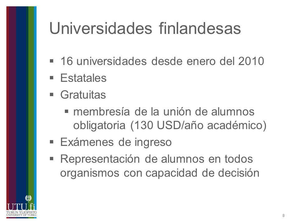 8 Universidades finlandesas 16 universidades desde enero del 2010 Estatales Gratuitas membresía de la unión de alumnos obligatoria (130 USD/año académ