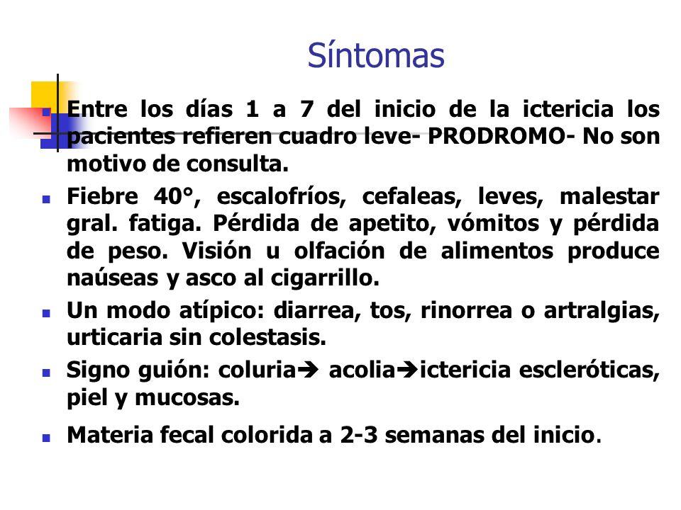 Síntomas Entre los días 1 a 7 del inicio de la ictericia los pacientes refieren cuadro leve- PRODROMO- No son motivo de consulta. Fiebre 40°, escalofr