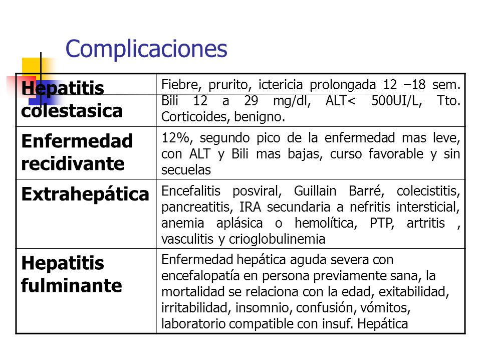 Complicaciones Hepatitis colestasica Fiebre, prurito, ictericia prolongada 12 –18 sem. Bili 12 a 29 mg/dl, ALT< 500UI/L, Tto. Corticoides, benigno. En